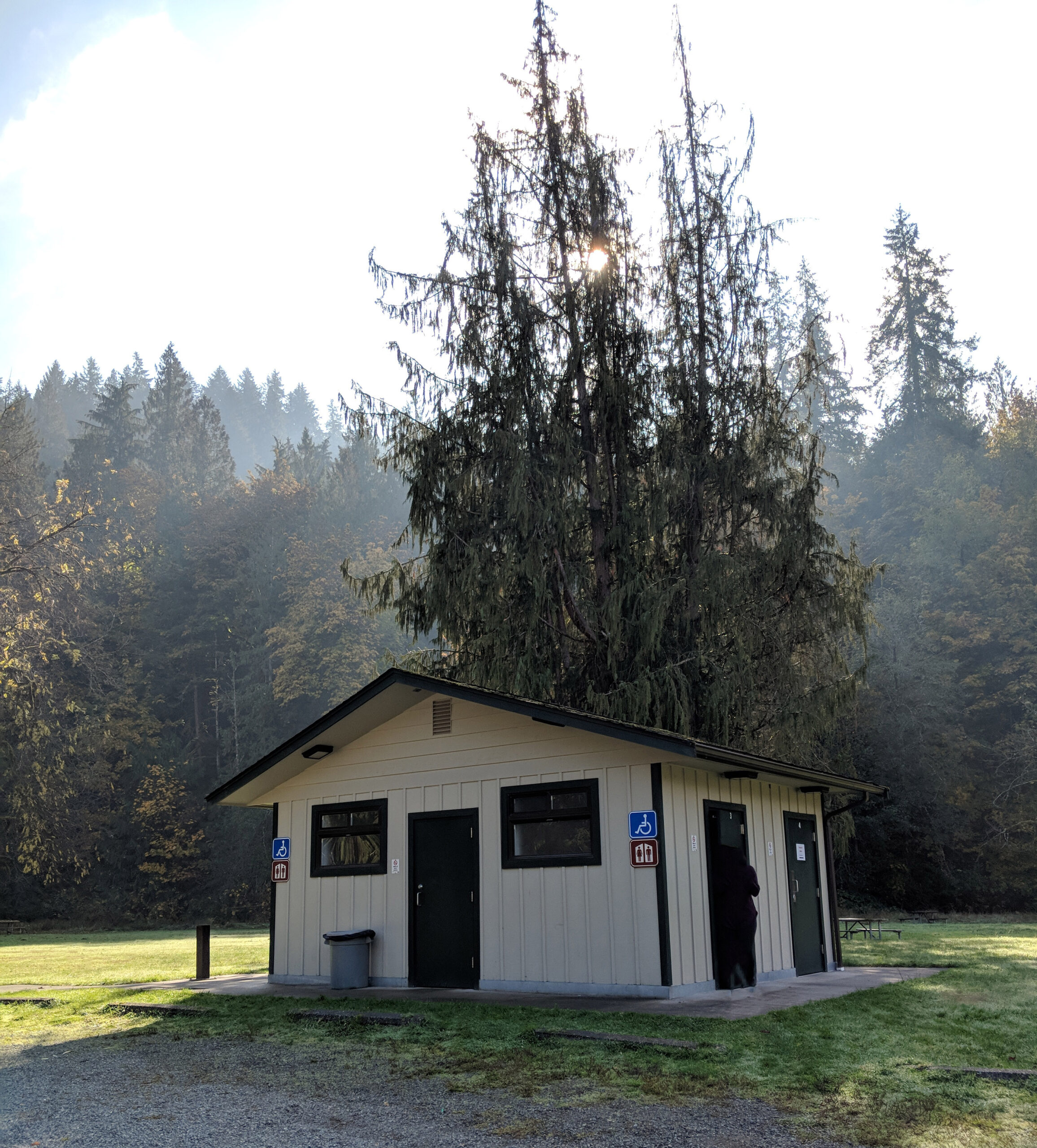 The restroom facilities at flaming geysers state park.