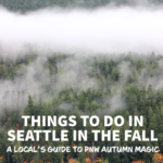 Golden trees on a waterfront in the pnw with the text: things to do in seattle in the fall.
