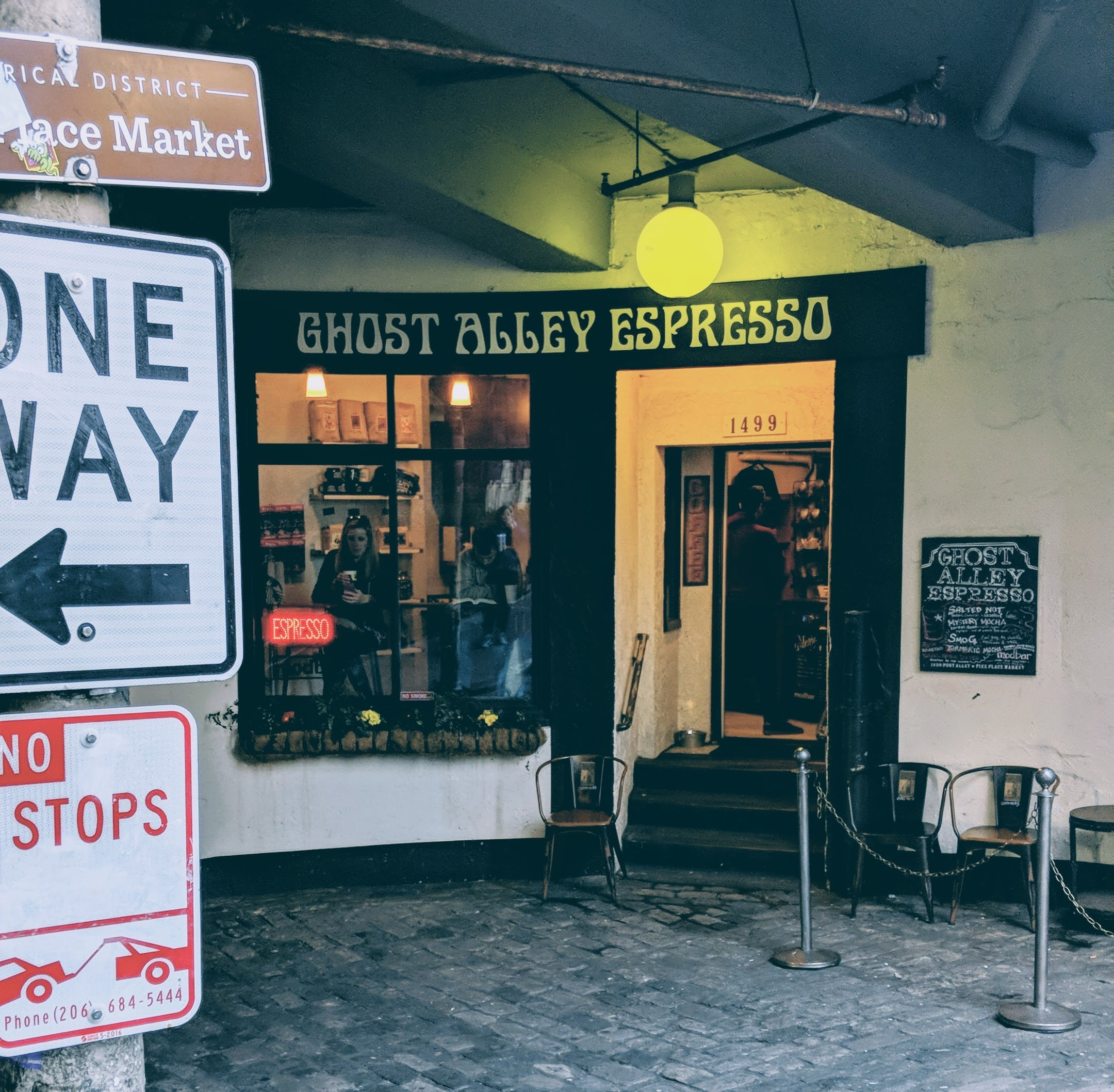 Storefront of ghost alley coffee.