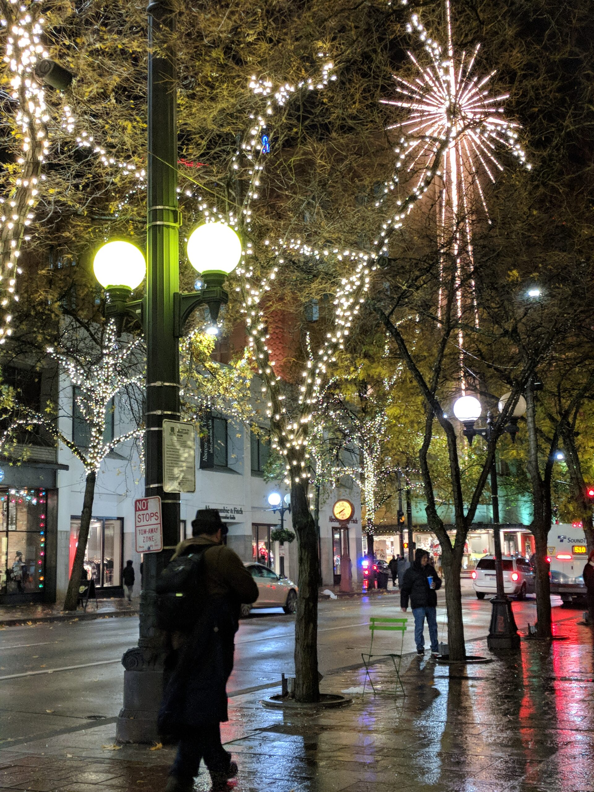 Christmas lights in downtown seattle.