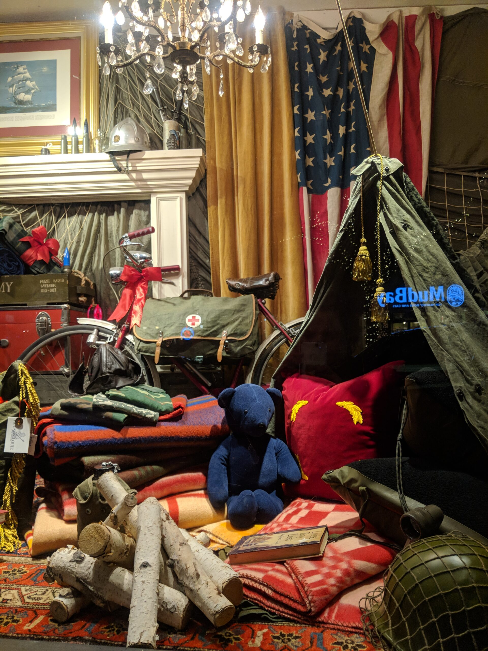A christmas window display in seattle.