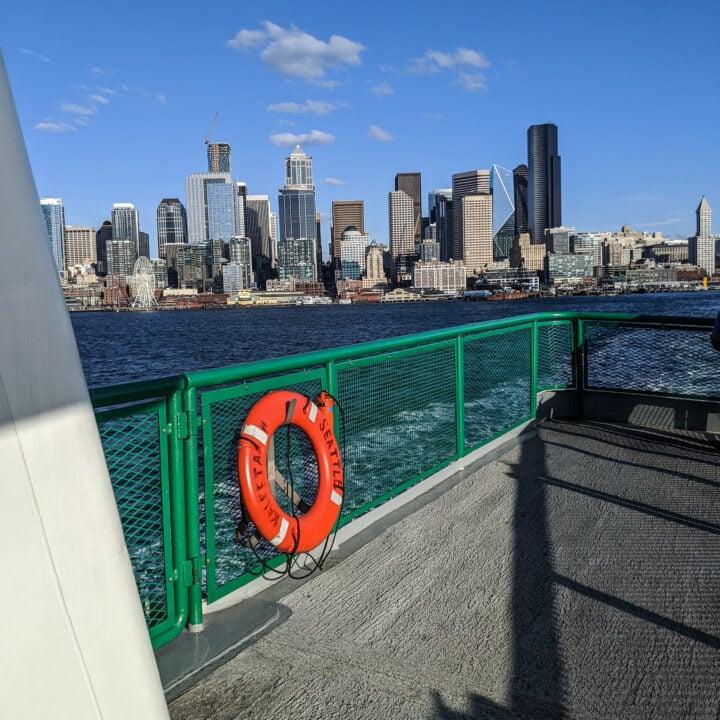 The Seattle skyline as seen from an approach on the Bainbridge to Seattle ferry MV Kaleetan