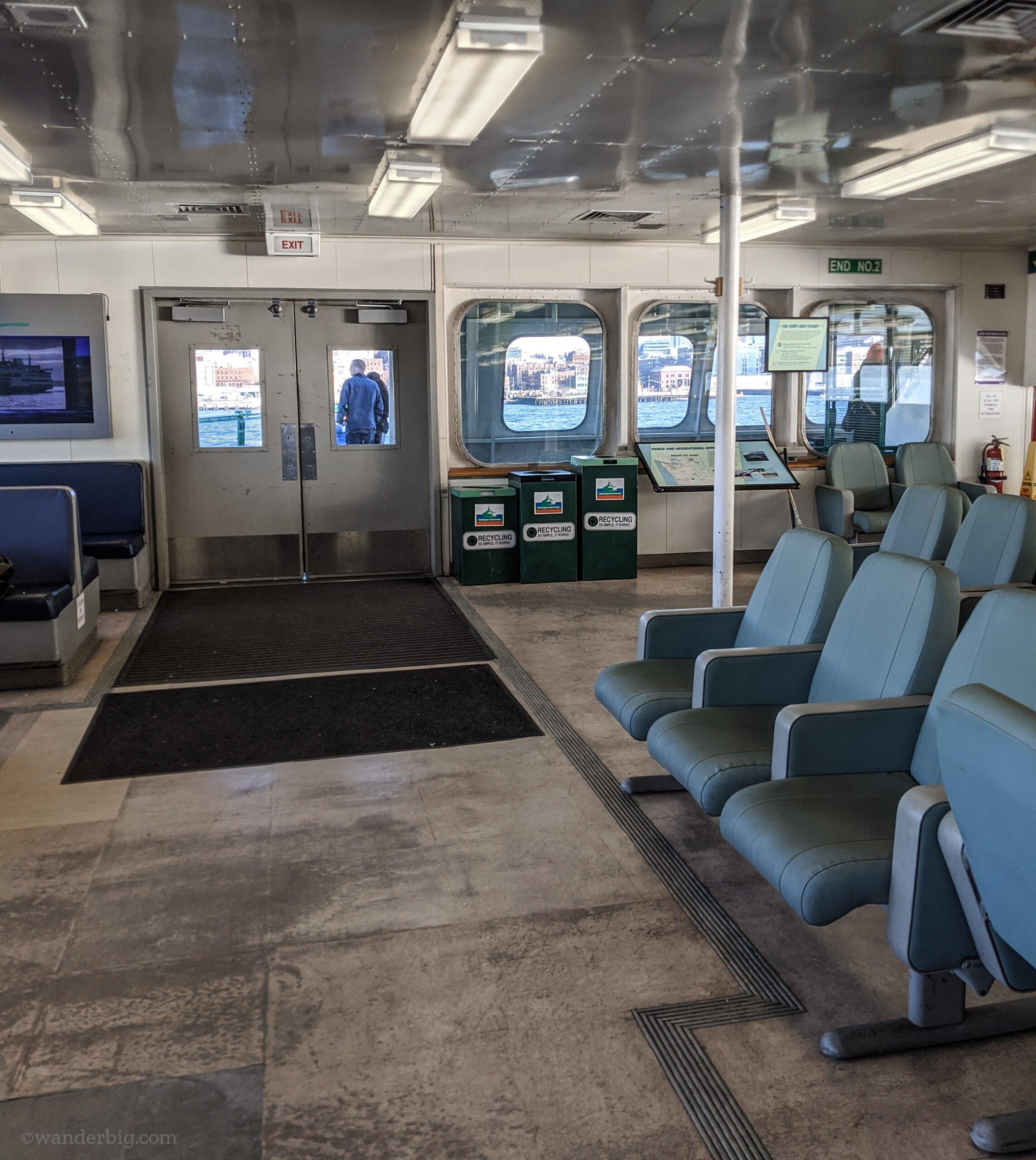 The main passenger deck of the bainbridge to seattle ferry.