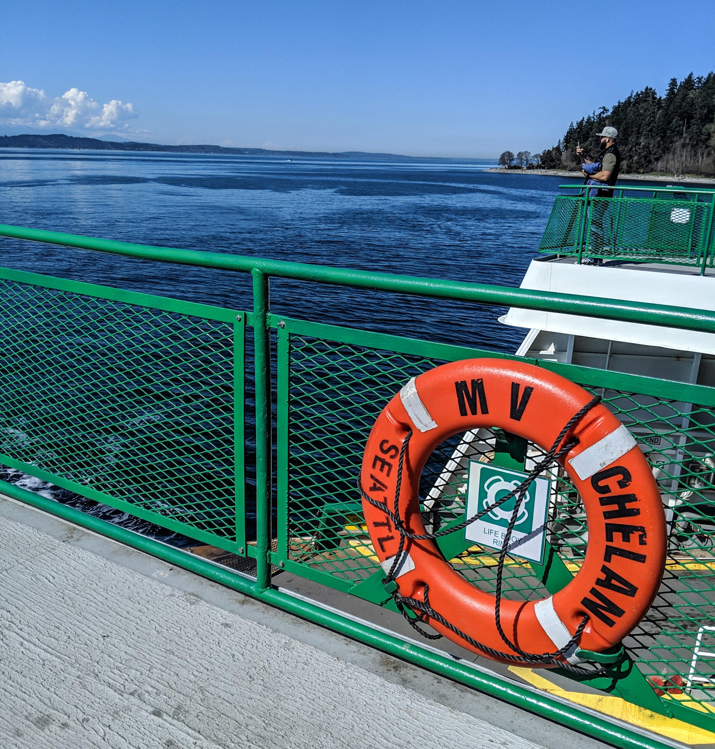 Upper deck of washington state ferry chelan.