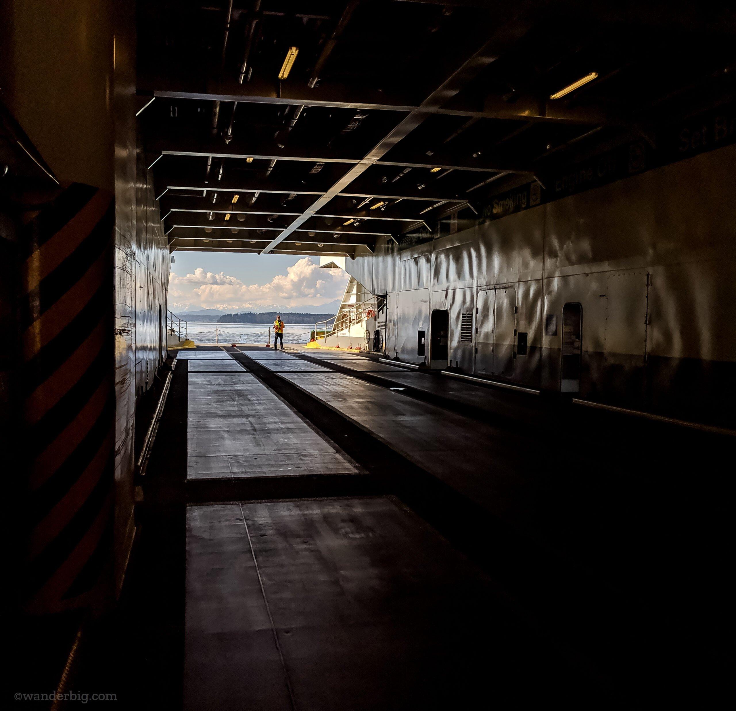 An empty car deck on a washington state ferry