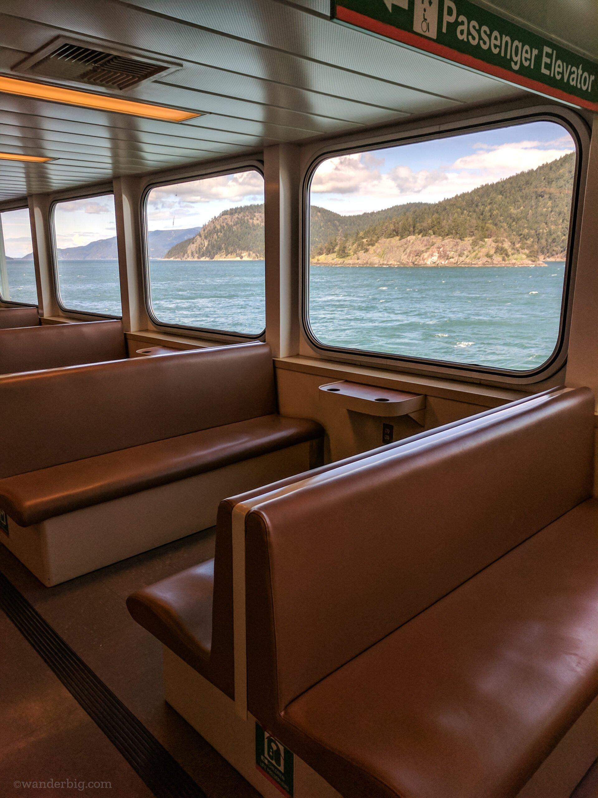 An empty passenger deck on a ferry from washington state mainland to san juan islands.