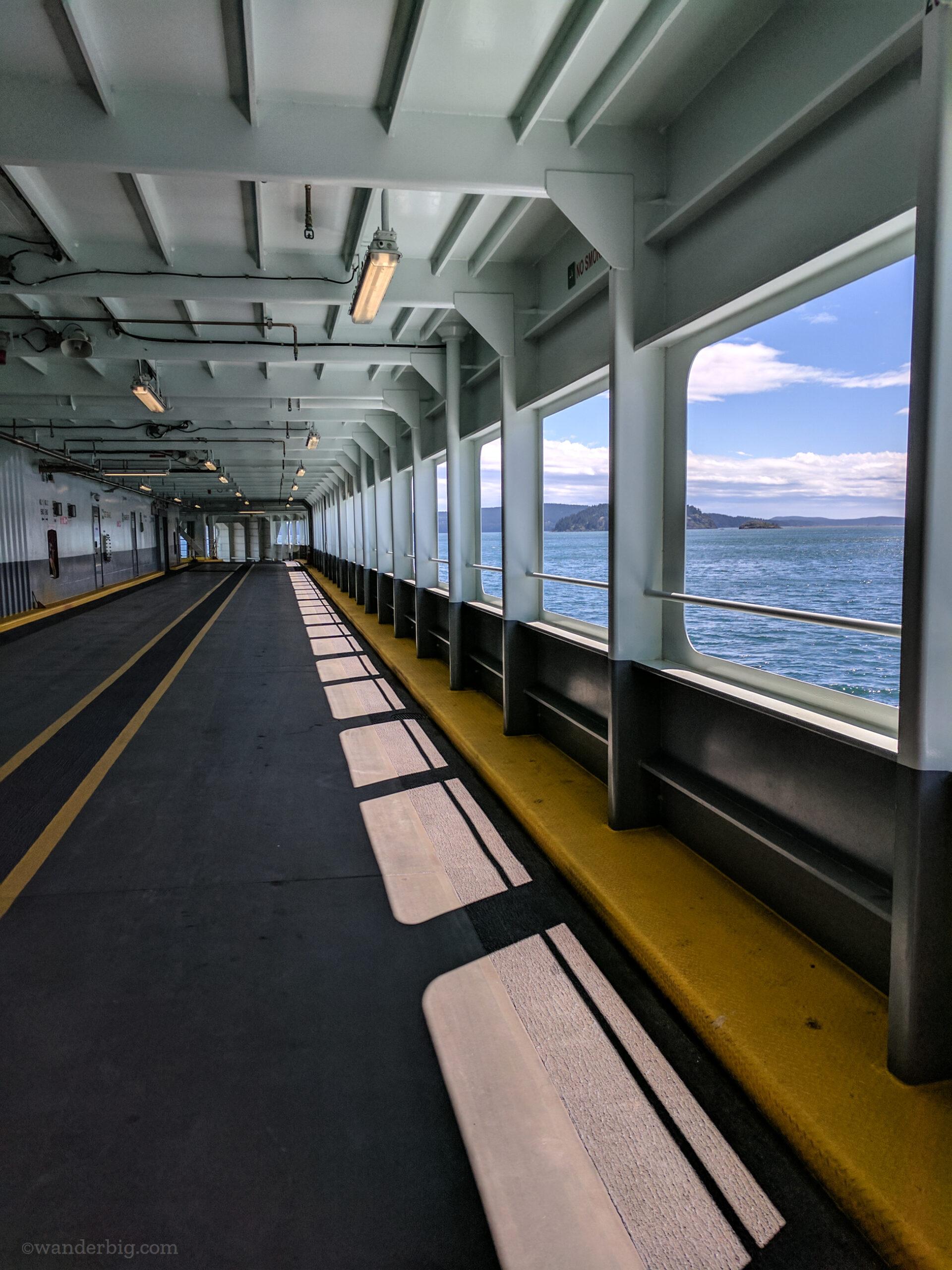 An empty car deck on a ferry in seattle.