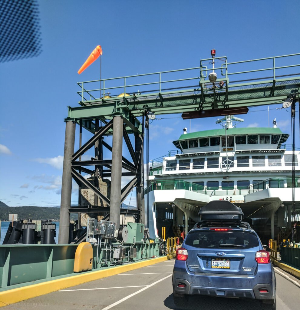 Boarding a ferry by car in washington state.