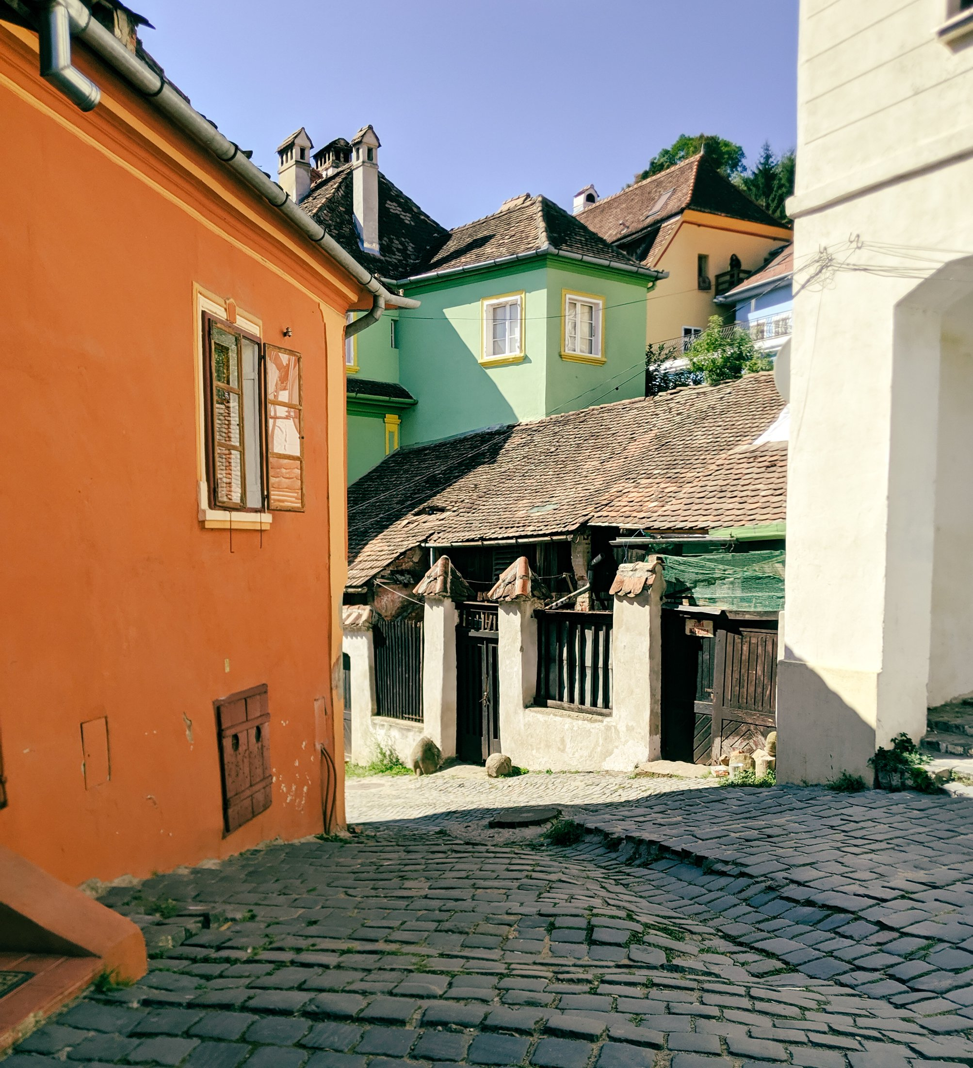 The colorful streets of sighisoara romania.