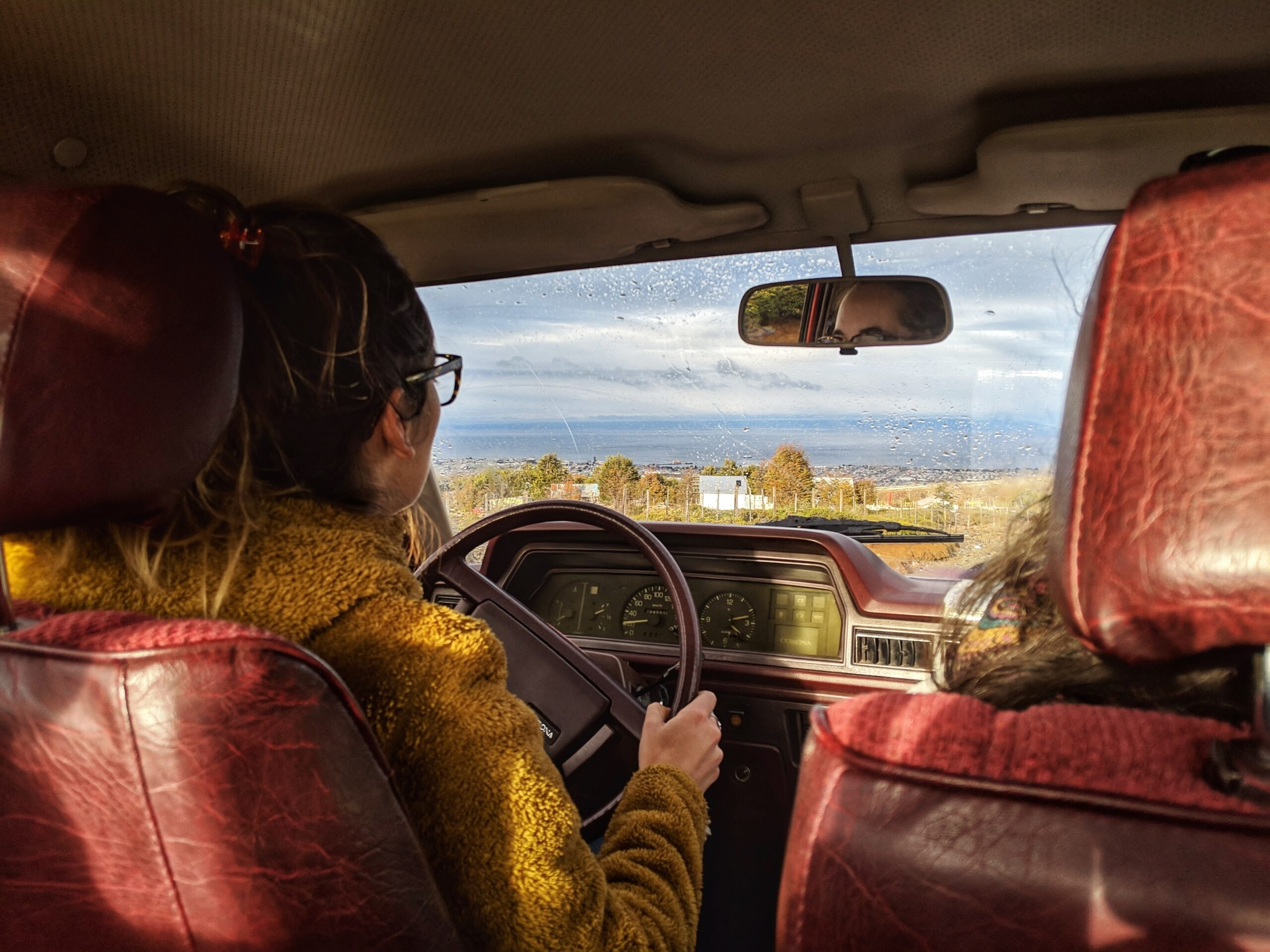 A driver and passenger driving
