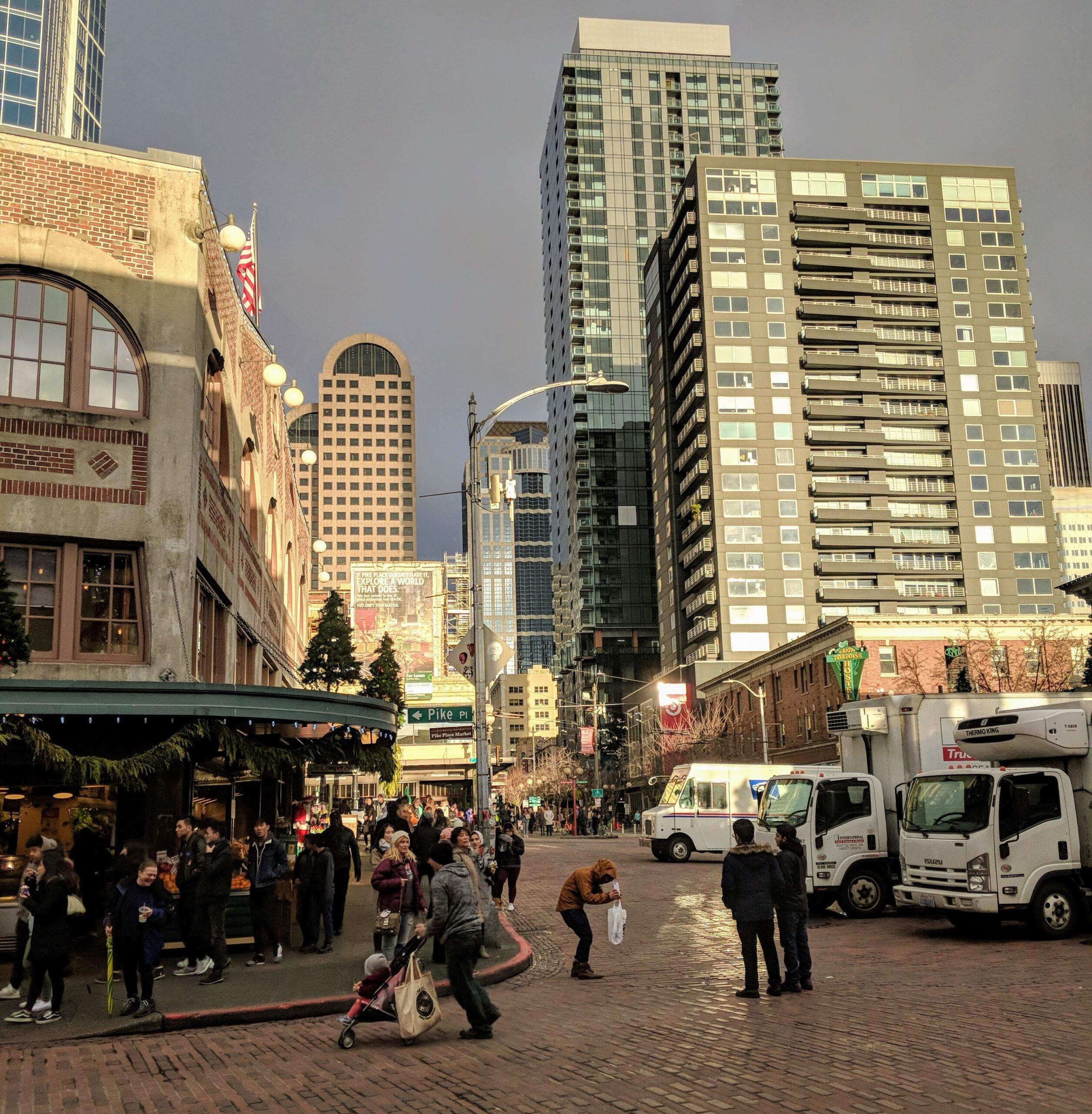 Seattle's city skyline as seen behind pike place market, a destination in this 24 hours in seattle itinerary.
