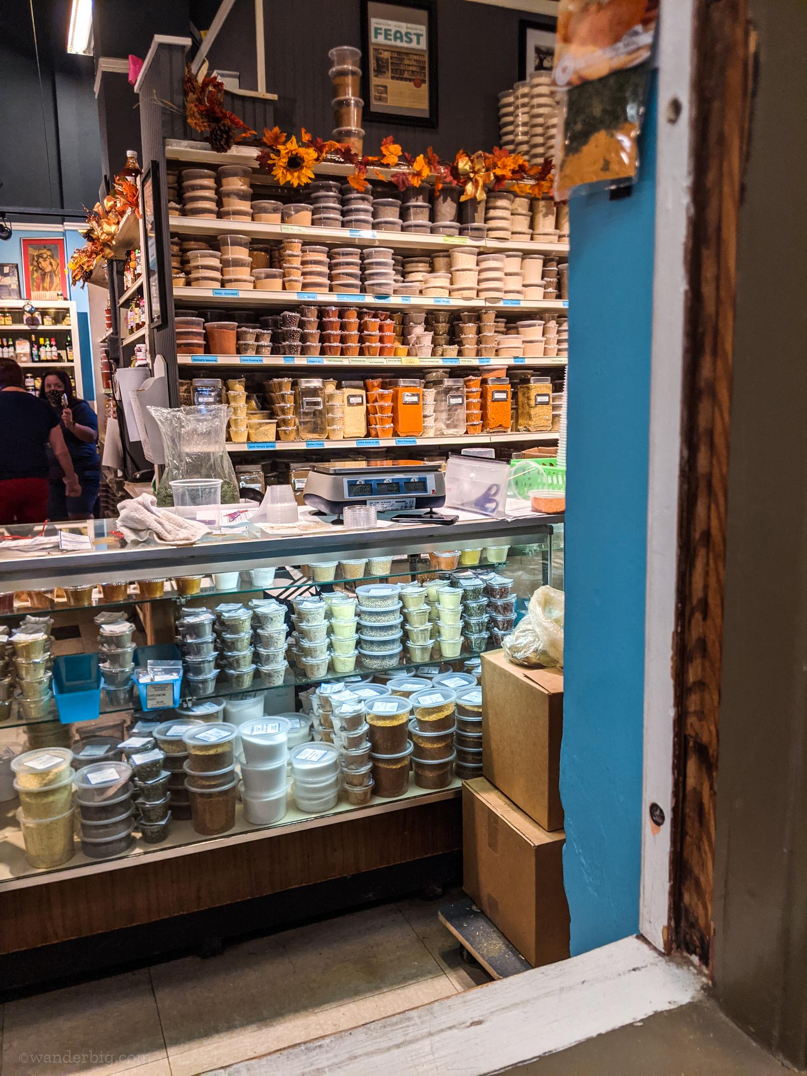 Spice shop in soulard market, saint louis.