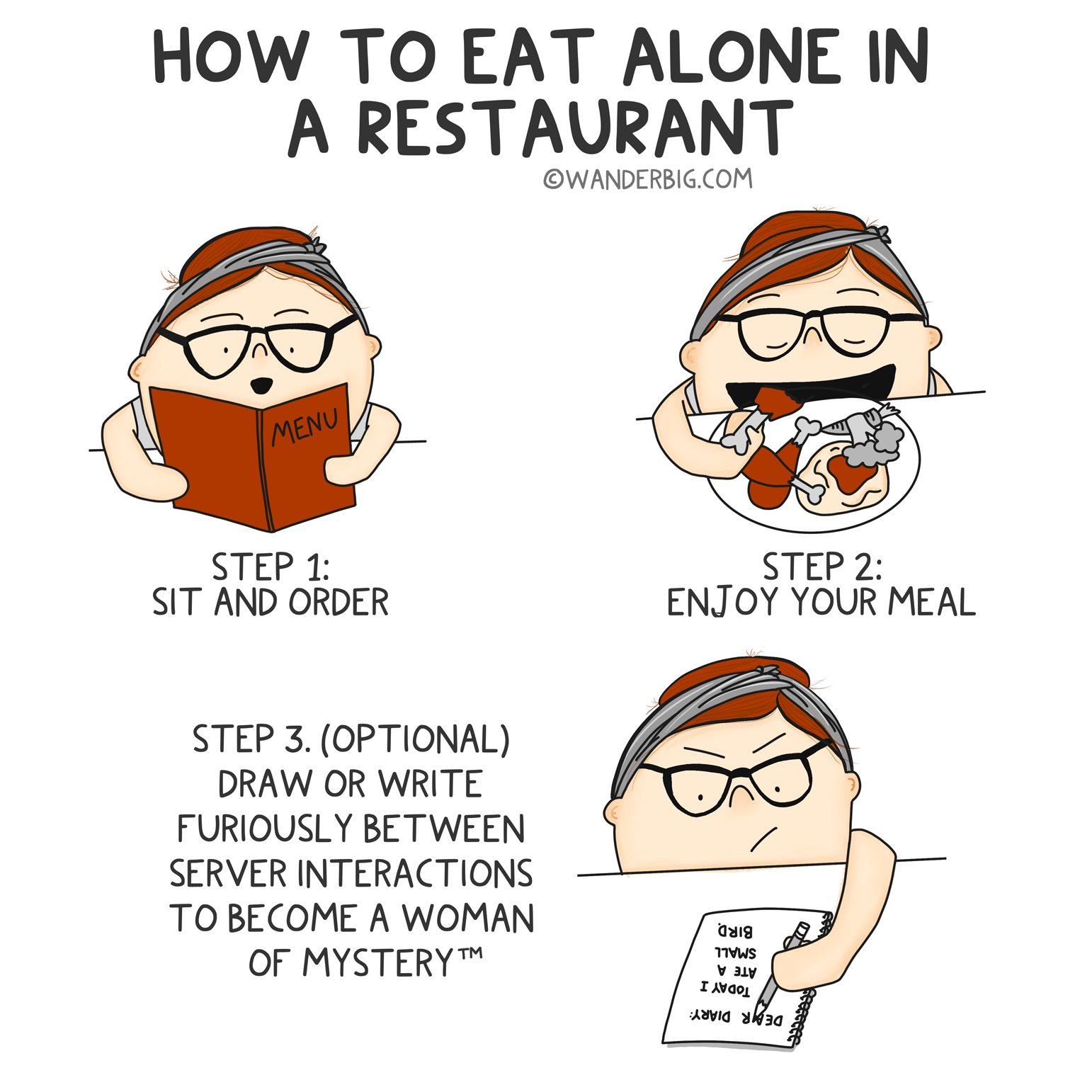 An illustration titled 'how to eat alone in a restaraunt' showing a cartoon figure ordering, eating, and writing in a notebook.