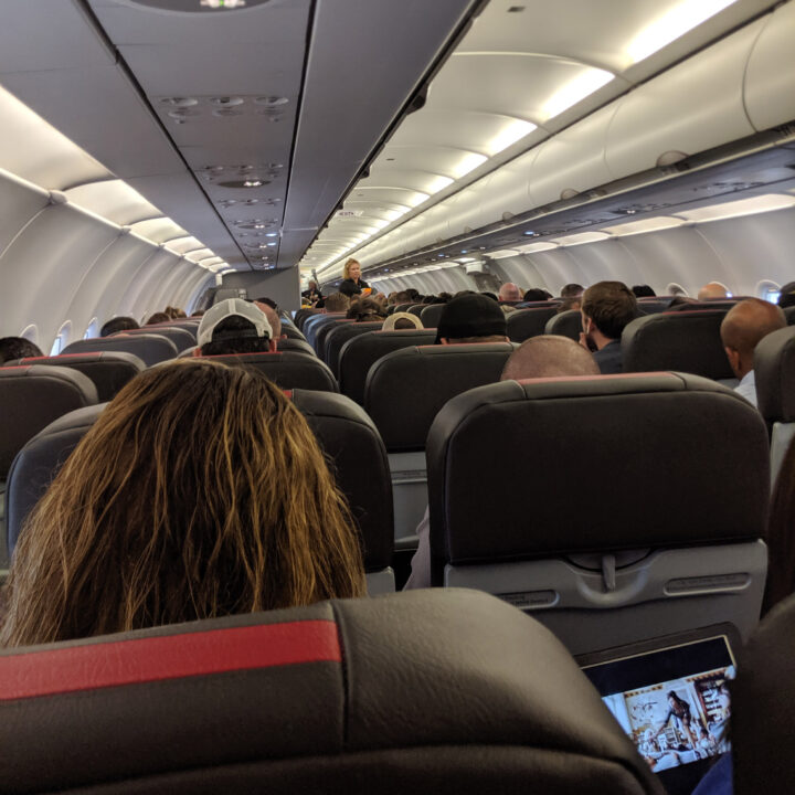 Passengers on an airplane.